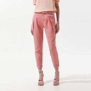 Zara Pink High Waisted double Pleated Cropped Sz S